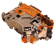 Optical drive laser pickup unit closeup image, isolated on white. Background stock photos
