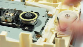 Optical drive mechanism demonstration 02 stock video footage