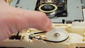 Optical drive mechanism demonstration 01 stock video