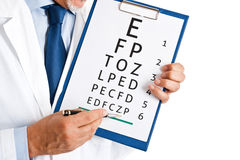 Optical exam. Doctor doing an optical test Stock Images