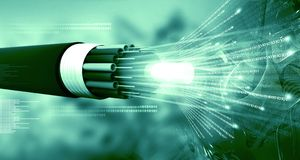 Optical fiber cable with binary cods. 3d illustration Stock Photos