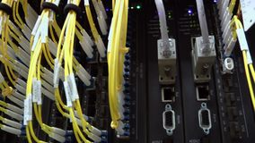 Optical Fiber Cable Connector Activity Indicator Blinking stock footage