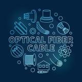 Optical Fiber Cable round blue vector linear illustration. On dark background stock illustration