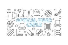 Optical Fiber Cable vector outline concept illustration. Optical Fiber Cable vector outline concept horizontal illustration or banner royalty free illustration