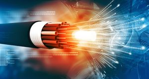 Free Optical Fiber Cable With Binary Cods Royalty Free Stock Photography - 117999177