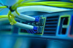 Optical fiber cables and hub Stock Photo