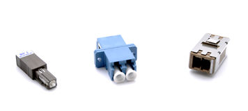 Optical fiber connectors stock image