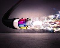 Optical fiber. Image of an optical fiber with lights Stock Images