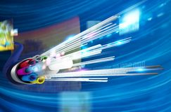 Optical fiber. Image of optical fiber with multimedia background Stock Photo