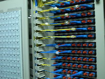 Optical fiber patch panel Royalty Free Stock Images