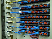 Optical fiber patch panel. The optical fiber connectors in a patch panel Stock Images