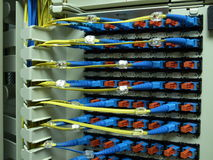Optical fiber patch panel. The optical fiber connectors in a patch panel Royalty Free Stock Image