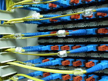 Optical fiber patch panel Stock Images