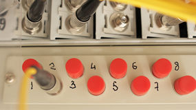 Optical fiber patch panel Stock Photos