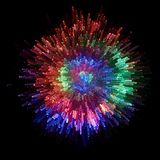 Optical fiber. Produce in the darkness a circle with colorful points of light Royalty Free Stock Image