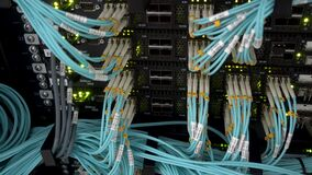 Optical fiber. Severs computer in a rack at the large data center. stock video