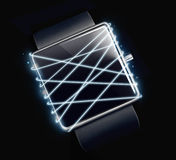 Optical fiber with smartwatch on dark background. Royalty Free Stock Photo