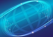 Optical Fibers. Abstract Background - Optical Fibers and Globe on Blue Background / Vector vector illustration