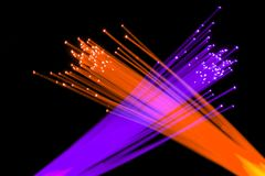 Optical fibers. Colorful optical communication fibers lighting Royalty Free Stock Photos