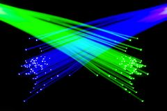 Optical fibers. Colorful optical communication fibers lighting Stock Photos