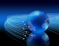 Optical fibres around earth Stock Images