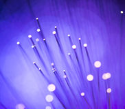 Optical fibres dinamic flying from deep on technology background Stock Photo