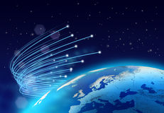 Optical fibres internet speed planet. Optical fibres internet speed around blue planet, dark space background Royalty Free Stock Photo