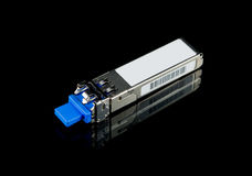 Optical gigabit SFP module for network switch isolated Royalty Free Stock Images