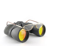 Optical glasses on the binoculars Stock Image