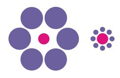 Optical illusion. The pink dots have the same size but it seems different Stock Photography