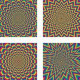 Optical illusion. 4 Hypnotic optical illusion Stock Images