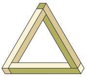 Optical illusion. Classic optical illusion. Impossible geometrical figure Stock Photo