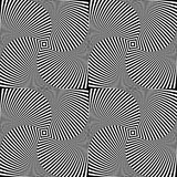 Optical illusion art abstract background. Black and white monochrome geometrical hypnotic seamless pattern. Optical illusion art abstract background. Black and Royalty Free Stock Images