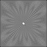 Optical illusion art abstract background. Black and white monochrome geometrical hypnotic square pattern. Optical illusion art abstract background. Black and Stock Images