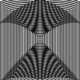 Optical illusion art abstract background. Black and white monochrome geometrical hypnotic square pattern. Optical illusion art abstract background. Black and stock illustration