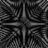 Optical illusion art abstract background. Black and white monochrome geometrical hypnotic square pattern. Optical illusion art abstract background. Black and Royalty Free Stock Photos