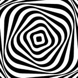 Optical illusion. Illusion art. Abstract twisted black and white background. Vector illustration.  Royalty Free Illustration