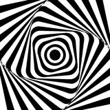 Optical illusion. Illusion art. Abstract twisted black and white background. Vector illustration.  Vector Illustration