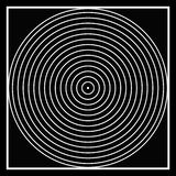 Optical illusion B&W circles. Black and white, square into a circle to a point. optical illusion, creating apparitions in ones minds. simple yet complex royalty free illustration