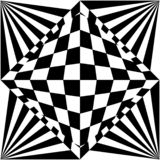 Optical illusion background black and white. This image depicts an optical illusion background, of black and white geometric shapes vector illustration