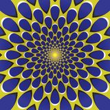 Optical illusion background. Blue drops fly away circularly from the center on yellow background. Yellow blue motion background Royalty Free Stock Photography