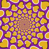 Optical illusion background. Golden hearts are moving circularly from the center on purple background Royalty Free Stock Images