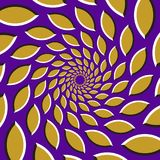 Optical illusion background. Golden pointed ellipses are moving circularly from the center on purple background Stock Photo