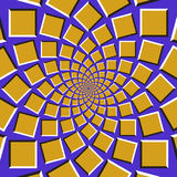 Optical illusion background. Golden squares are moving circularly toward the center on blue background Stock Photography