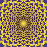 Optical illusion background. Purple arrows fly away circularly. From the center on yellow background. Yellow purple motion background Royalty Free Stock Images