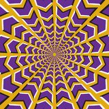 Optical illusion background. Purple arrows fly in two directions to the center and from on yellow background.  Royalty Free Stock Images