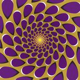 Optical illusion background. Purple drops fly away circularly around the center on golden background. Golden purple motion background Royalty Free Stock Photo