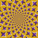 Optical illusion background. Purple four pointed stars are moving circularly from the center on golden background. Purple stars background royalty free illustration