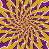 Optical illusion background. Purple lightnings revolves circularly   Royalty Free Stock Images
