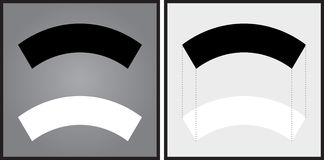 Optical illusion. Black arch appears to be smaller than the white one although they are the same size - explanation on the right Royalty Free Stock Images